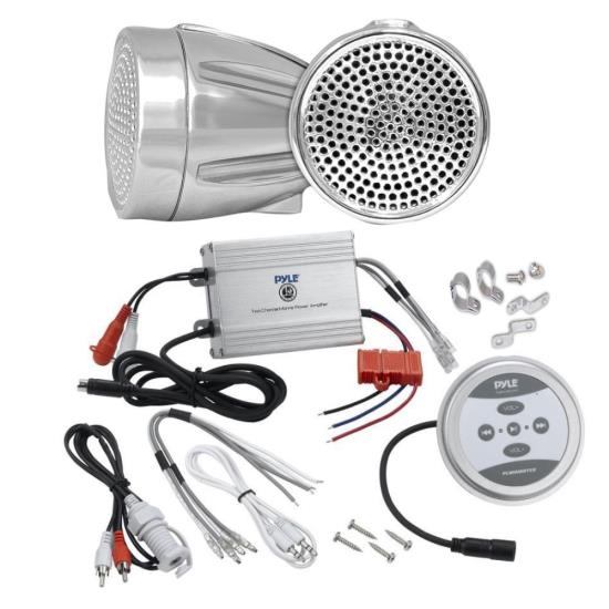 Pyle KTHSP450 600 Watts Motorcycle/ATV/Snowmobile Sound System with Bluetooth Amplifier(Silver),handle-bar Mount Weatherproof 2.25'' Speakers(Silver), and Wires