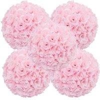 Ktaxon 5 Pcs Artificial Roses Flowers Kissing Ball Silk Wedding Bridal Pomander Party Home Decor Pink