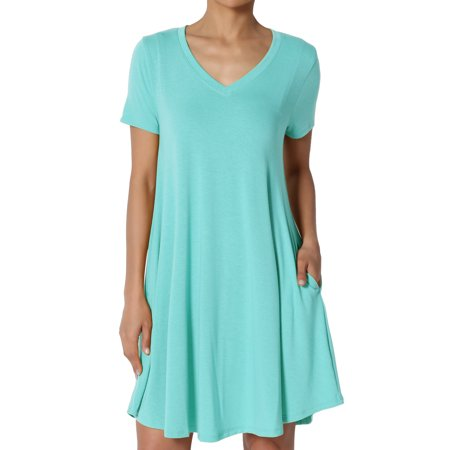 TheMogan Women's PLUS Short Sleeve V-Neck Draped Trapeze Pocket Short Tunic - Pink Flapper Dress