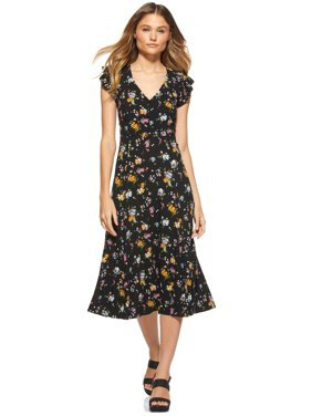 Scoop Womens Midi Dress with Keyhole Back
