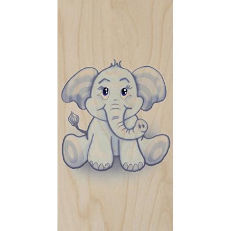 """Cute Lil Elephant"" Funny Cute Animal Cartoon - Plywood Wood Print Poster Wall Art"
