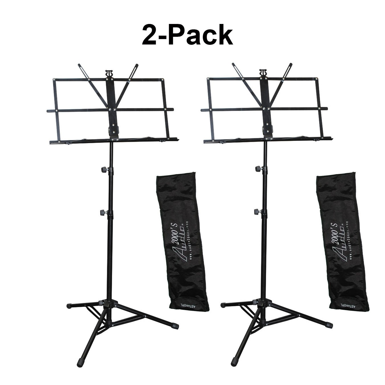 Audio 2000s AST4445BK Portable SHeet Music Stand (2 Pack) by