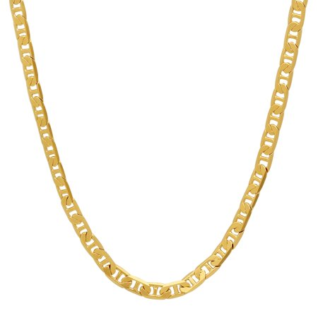3.5mm 24K Gold Plated Mariner Link Chain Necklace, 18