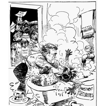 Cartoon Fdr 1933 Npresident Franklin Delano Roosevelts Cleans Out The Ills Of The Financial Industry During His First Term Drawing 1933 Rolled Canvas Art     18 X 24