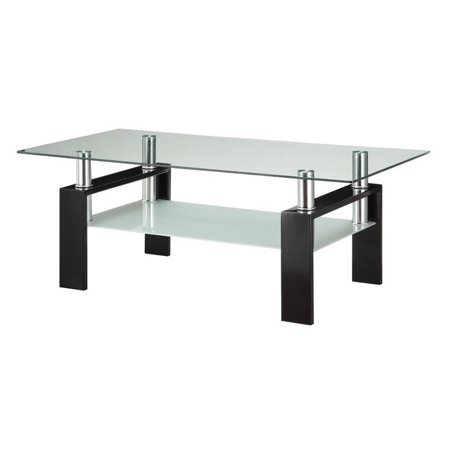 Coaster 2 Piece Glass Top Coffee Table and End Table Set in Black - image 4 of 5