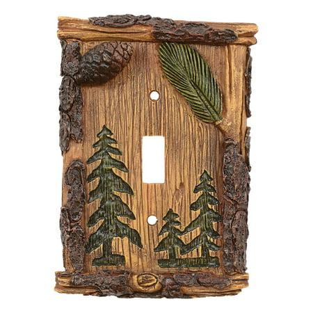 Pinecone & Tree Rustic Single Switch Plate - Rustic Decor