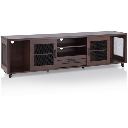 Furniture of America Mendes Industrial 70-Inch TV Stand, Vintage Walnut ()