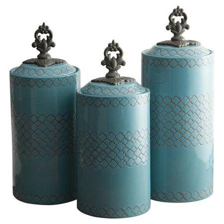 Ivory Canister Set (Bungalow Rose 3 Piece Cylinder Ceramic Kitchen Canister Set )