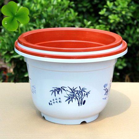 Living Room Plastic Floral Pattern Cactus Flower Plant Container Pot White 3 PCS - image 2 of 4