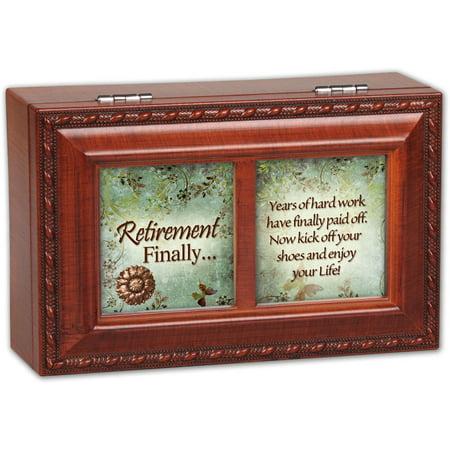 Retirement Finally Woodgrain Petite Music Box / Jewelry Box Pl...