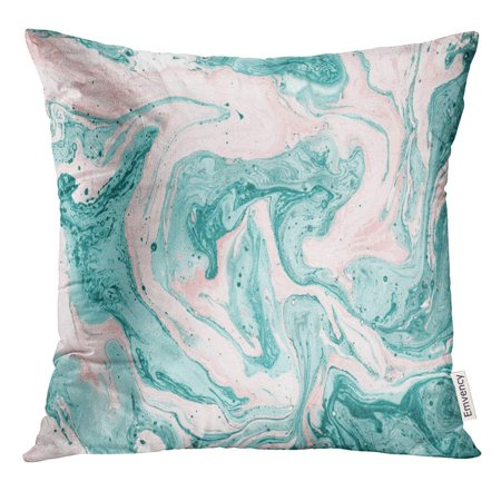 USART Watercolor Sea Gouache Painting Abstract Marble Trendy for Turquoise and Pink Colours Modern Hand Blue Pillow Case 18x18 Inches Pillowcase