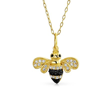 Elegant Golden Black Cubic Zirconia Bumble Bee Queen Bee Pendant Necklace For Women 14K Gold Plated 925 Sterling Silver (Queen Bee Necklace)
