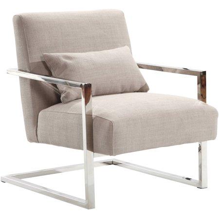 Skyline Fabric Chair (ARMEN LIVING Skyline Modern Accent Chair, Grey Linen and Steel)