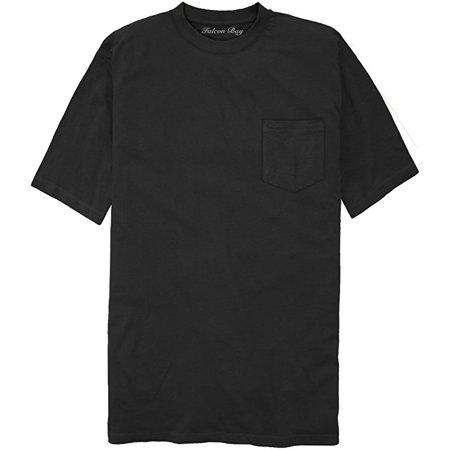 Falcon Bay Big & Tall Men's 100% Cotton Pocket T-Shirt (9XL/10XL, Black) - Falcon Bay Big And Tall T-shirt