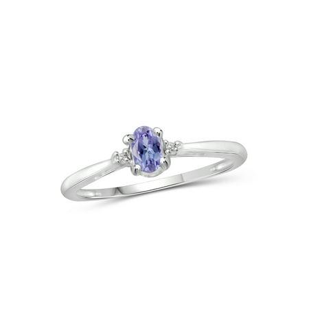 0.24 Carat Tanzanite Gemstone and Accent White Diamond Ring