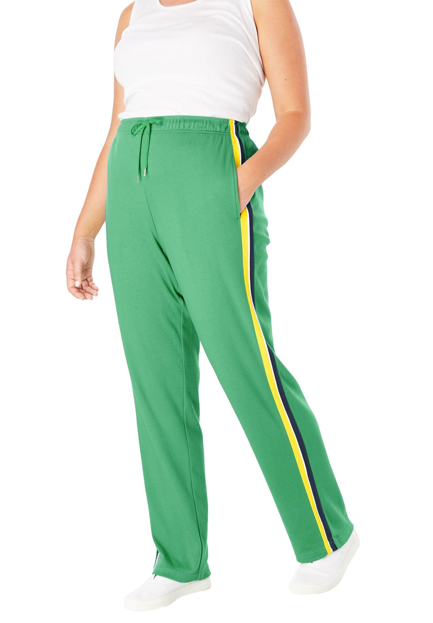 Woman Within Plus Size Petite Sport Knit Side-stripe Pant