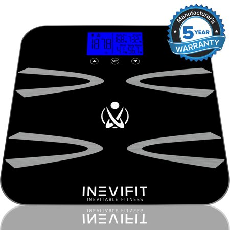 INEVIFIT BODY-ANALYZER SCALE, Highly Accurate Digital Bathroom Body Composition Analyzer, Measures Weight, Body Fat, Water, Muscle, BMI, Visceral Fat & Bone Mass for 10 Users. 5-Year Warranty - Measure Body Fat Composition