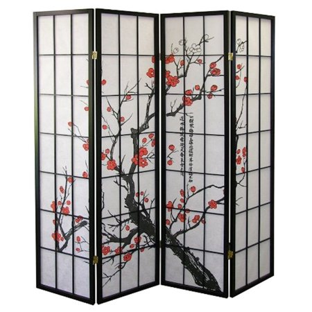 Legacy Decor Black 4-Panel Plum Blossom Screen Room Divider ()