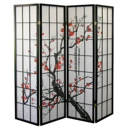 Legacy Decor Black 4-Panel Plum Blossom Screen Room Divider