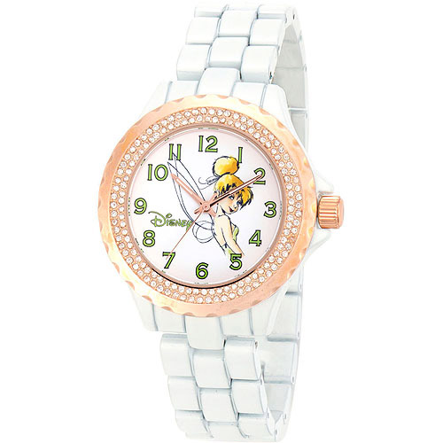 Disney Tinker Bell Women's Enamel Sparkle Rose Gold Case Watch, White Bracelet