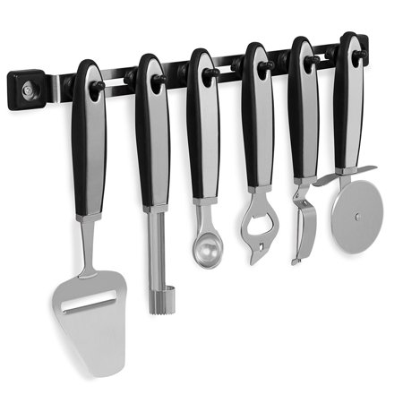 Internet's Best Stainless Steel Cooking Gadget Set with Wall Mounted Rack | 7-Piece | Pizza Slicer, Peeler, Cheese Cutter, Corer, Bottle Opener, Melon Baller and Hanging