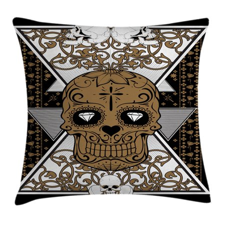 Viking Log Furniture (Tattoo Decor Throw Pillow Cushion Cover, Wise Old and Brave Viking Warrior with his Long White Beard and Armour, Decorative Square Accent Pillow Case, 16 X 16 Inches, White and Black, by Ambesonne)