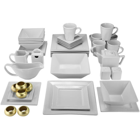 10 Strawberry Street Nova Beaded Square 45 Piece Dinnerware Set