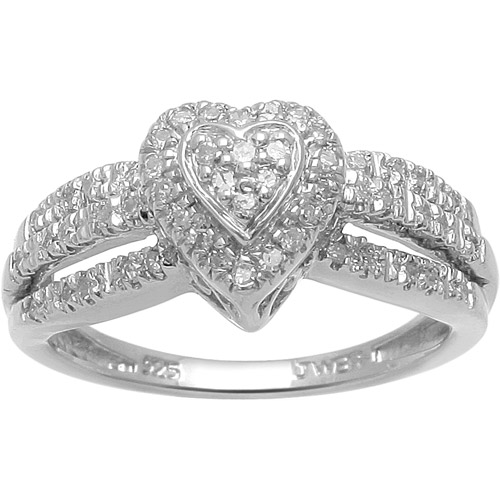 17 Carat TW Diamond Sterling Silver HeartShape Engagement Ring