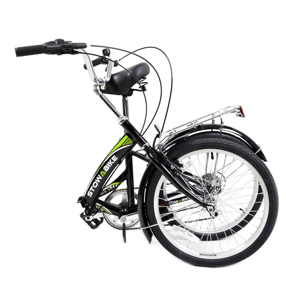 Stowabike 20 folding city v2 compact foldable bike 6 speed shimano gears black walmart com