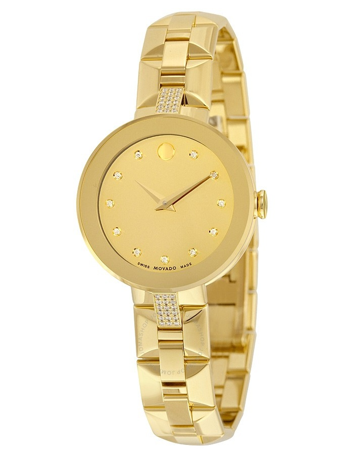 Movado Sapphire Yellow Mirror Diamond Dial Ladies Watch 0606817