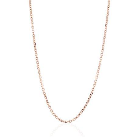 18 Adjustable Link (Solid 14k Rose Gold 1mm Cable Link Chain Necklace 16