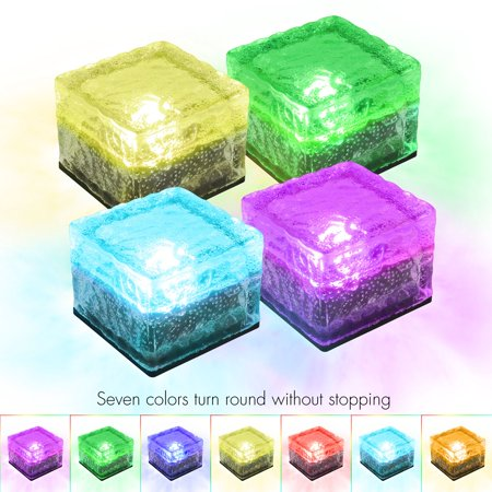 - TECBOX Solar Garden Brick Light Creative Ice Cube Lights Color Changing Waterproof LED Frosted Glass Brick Rock Lamp In-ground Buried Lights for Outdoor Bar Path Pond Home (4PCS COLORFUL)