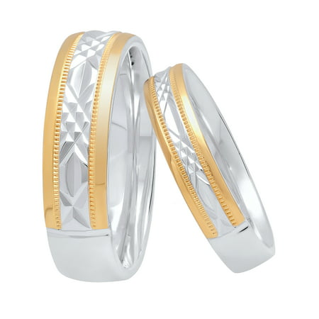 His and Hers Sterling Silver Diamond Cut 14K Gold Plated Matching Wedding Band Set