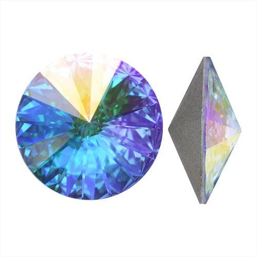 Swarovski Crystal, #1122 Rivoli Fancy Stones 12mm, 4 Pieces, Crystal AB Sf