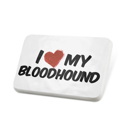 Bloodhound Pin (Porcelein Pin I Love my Bloodhound Dog from Belgium, France Lapel Badge –)