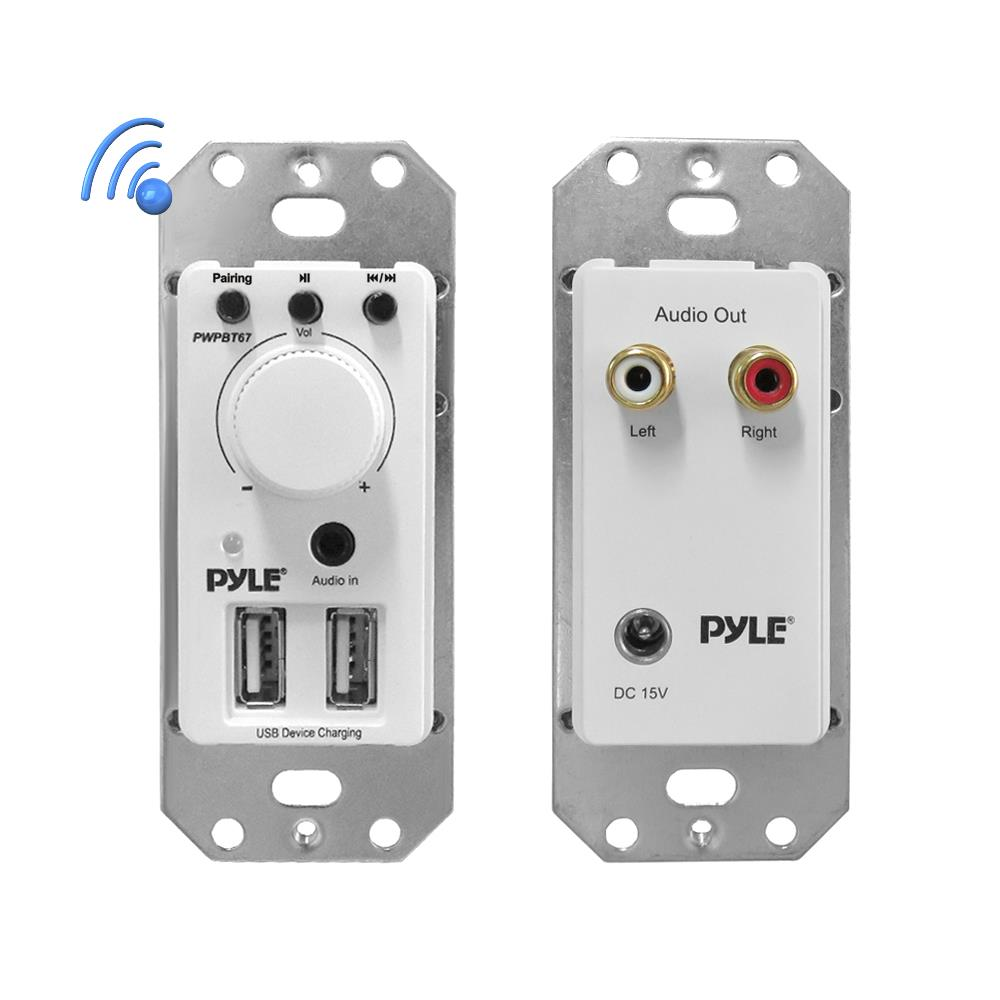 PYLE PWPBT67 - In-Wall Bluetooth Audio Receiver, Dual USB Device Charger & Aux Input for Sound Systems