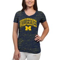 13a68d3622 Product Image Michigan Wolverines Text Overlay Women's/Juniors Team Short  Sleeve V Neck Tee Shirt