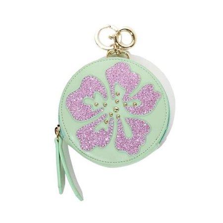 Sharif Hibiscus Flower Zip Coin Purse Keychain Bag Charm Wallet Clutch Glitter Green Handbag Small Designer Womens 414069-M5H