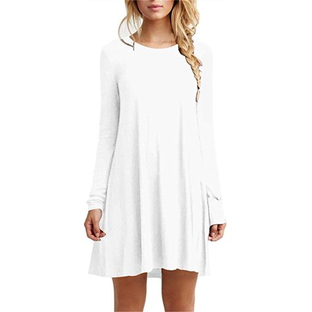 99b37ab2ed3 Vista - Women s Casual Plain Fit Flowy Simple Swing T-Shirt Loose Tunic  Dress - Walmart.com