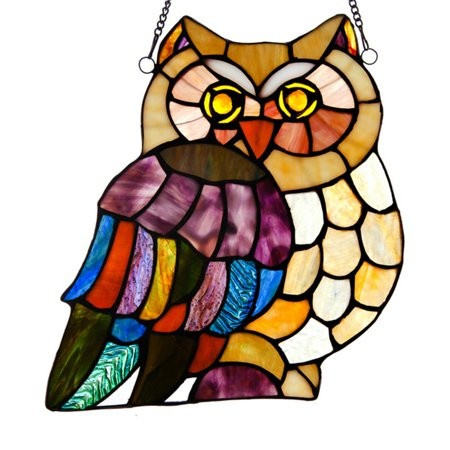 River of Goods Stained Glass Hoots Owl Window Panel - Ocean Stained Glass