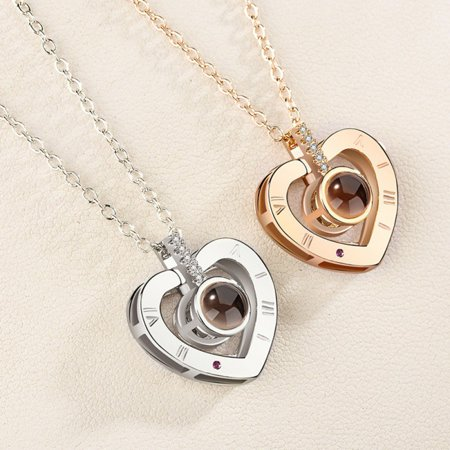 Nano Sterling Gold Necklace Heart Shape Jewelry Accessories Fashion Jewelry Pendants Valentine's Day Anniversary Gift
