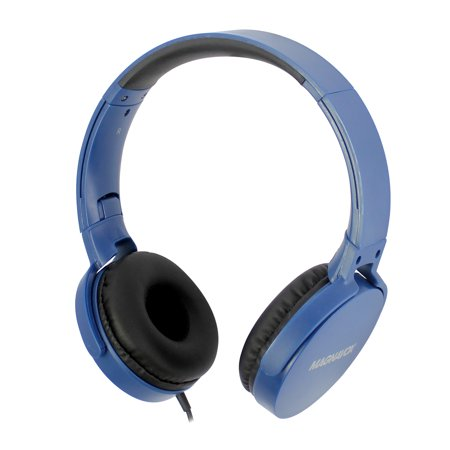 Magnavox Blue Foldable Stereo Headphones with Microphone MHP5026MBL