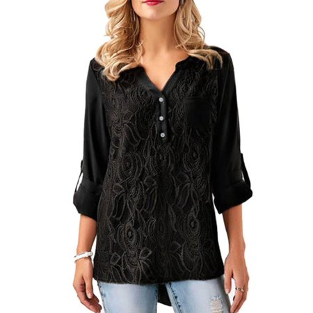 Lace Shoulder Button - Womens Blouses Clearance Buttons Adjustable Sleeve Lace Splice