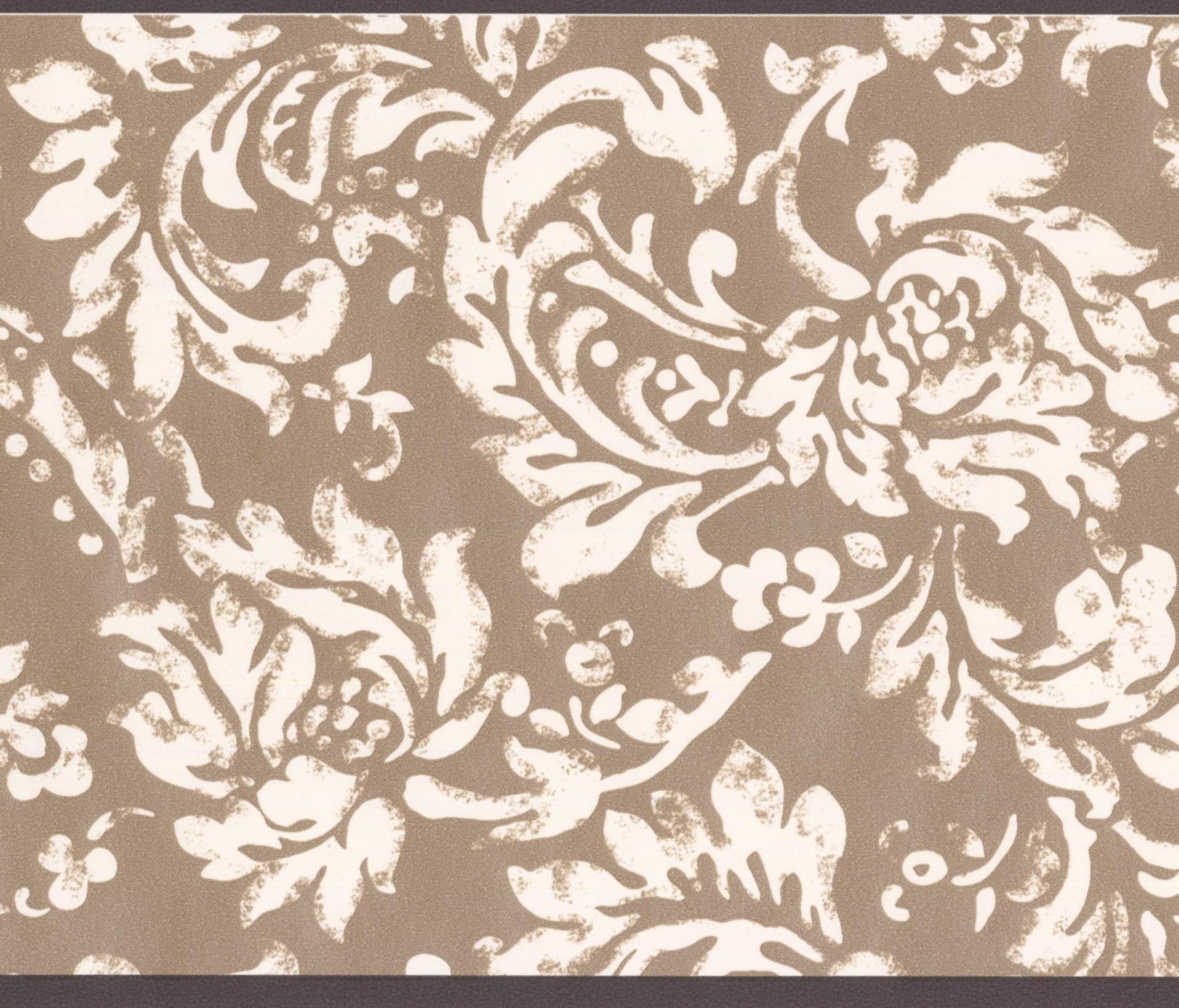 modern white floral pattern brown damask wallpaper border vintageprevious; next