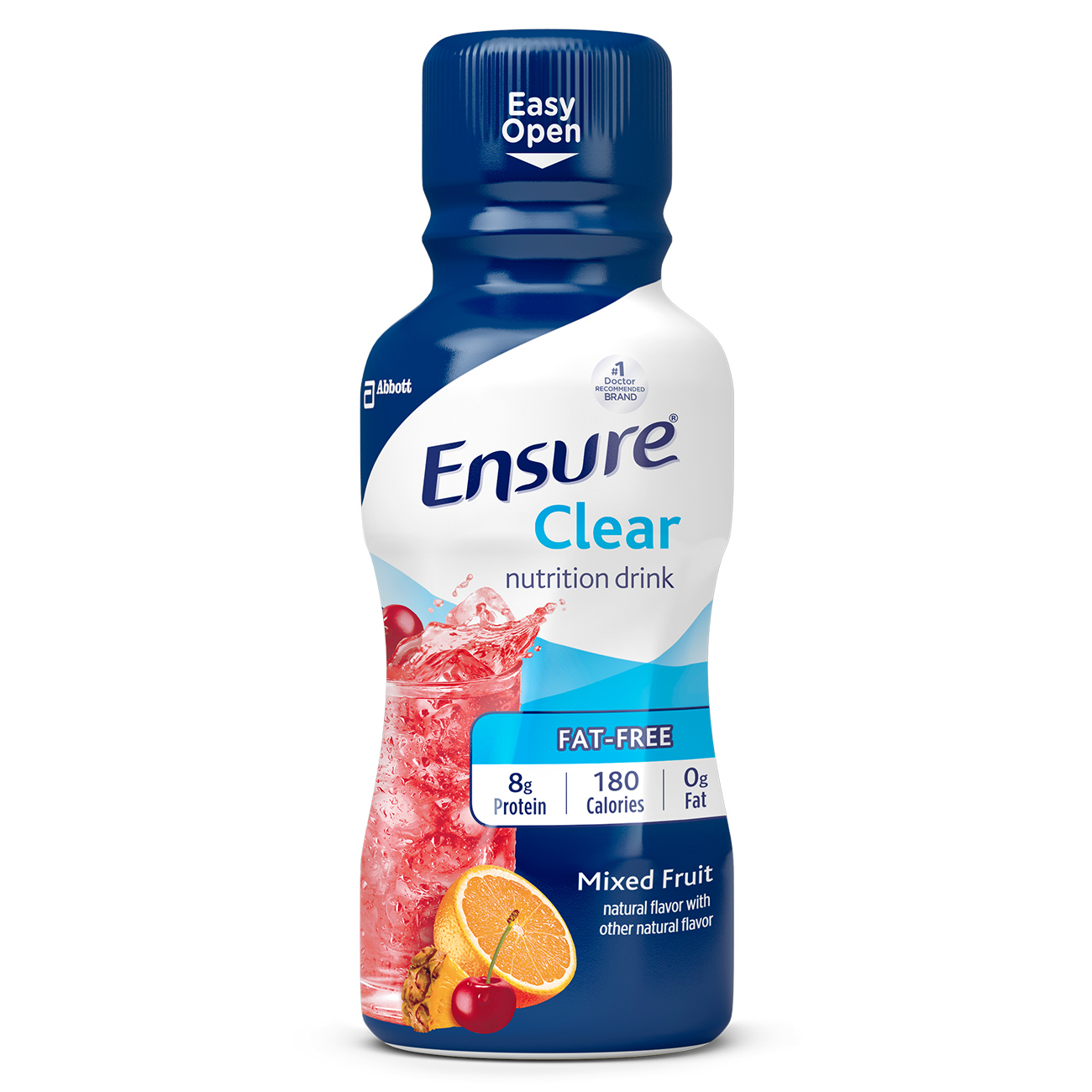 Ensure Clear Nutrition Drink, 0g fat, 8g of high-quality protein, Mixed Fruit, 10 Fl oz, 4 Ct