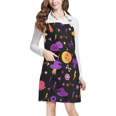 ASHLEIGH Halloween Symbols Apron BBQ Aprons Kitchen Aprons With Two Pockets For Women Men](Bbq Ideas For Halloween)