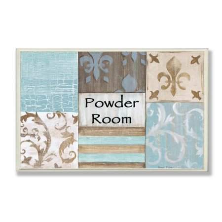 Powder Room Aqua and Brown Patchwork Bath Plaque