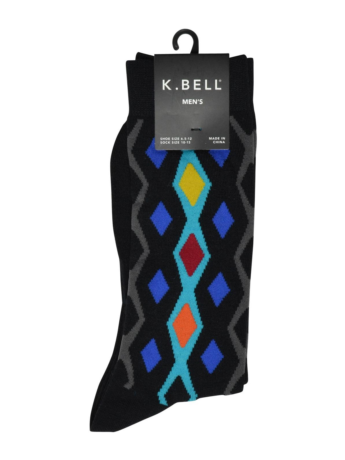 K. Bell Men`s Graphic Crew Socks, 10-13, Vertical Diamonds
