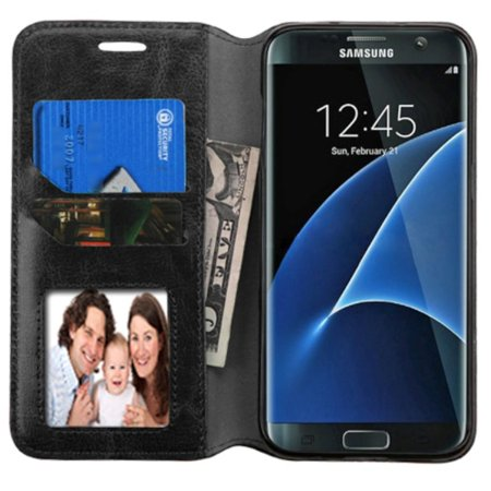 new styles 3c2ed c5c1d Samsung Galaxy S7 Edge Case, by Insten Flip Leather Cover Stand Case with  card slot For Samsung Galaxy S7 Edge case cover