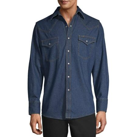 Plains Men's and Big Men's Long Sleeve Washed Denim Shirt